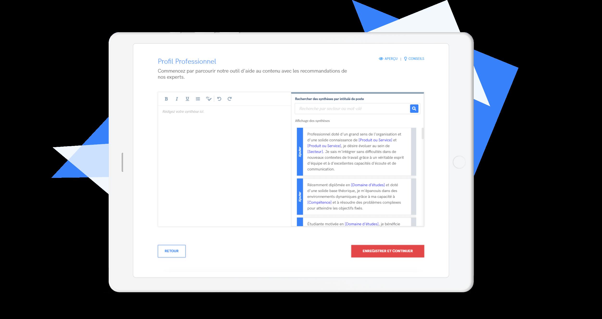 créer un CV en ligne par étape.