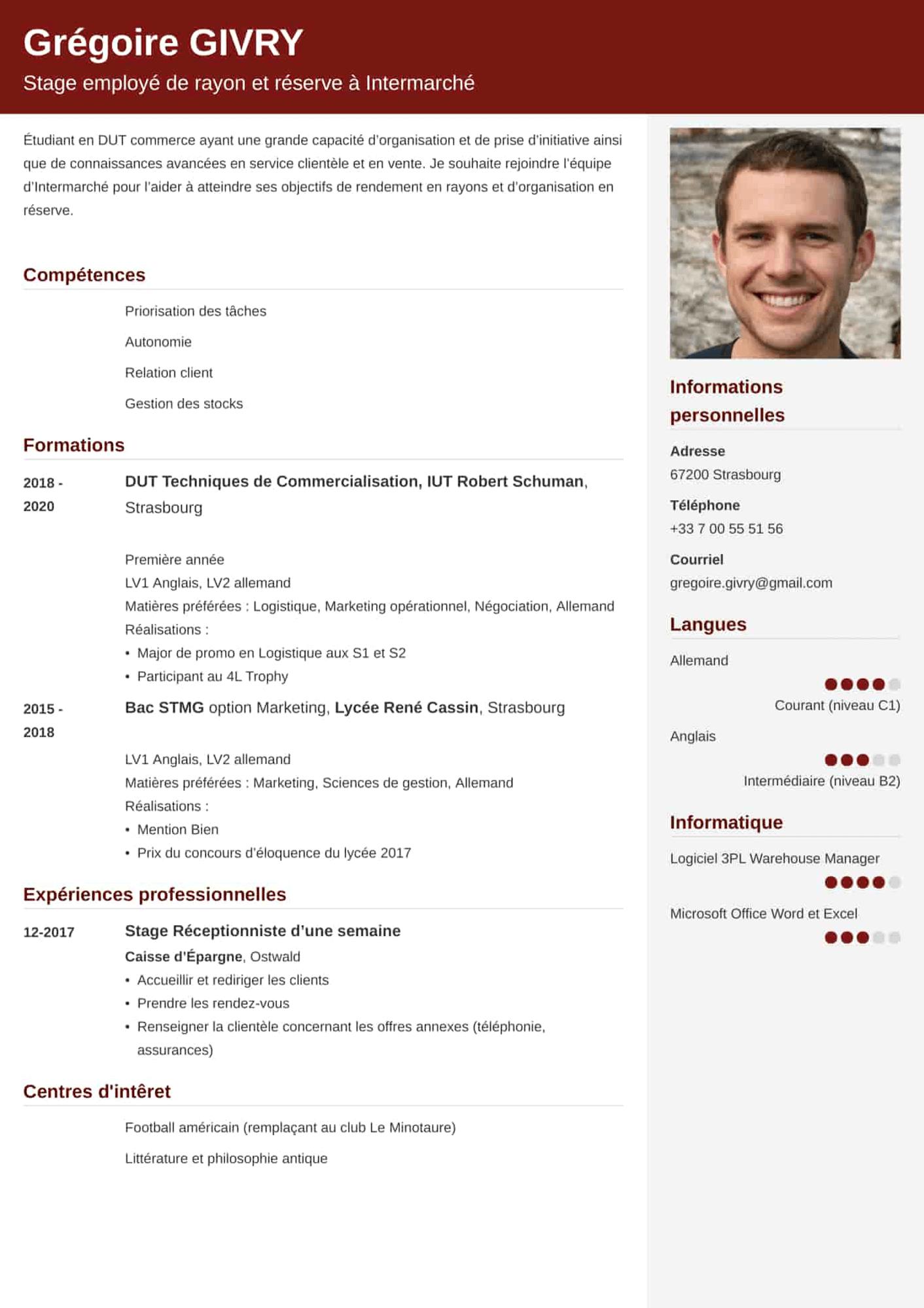 CV étudiant