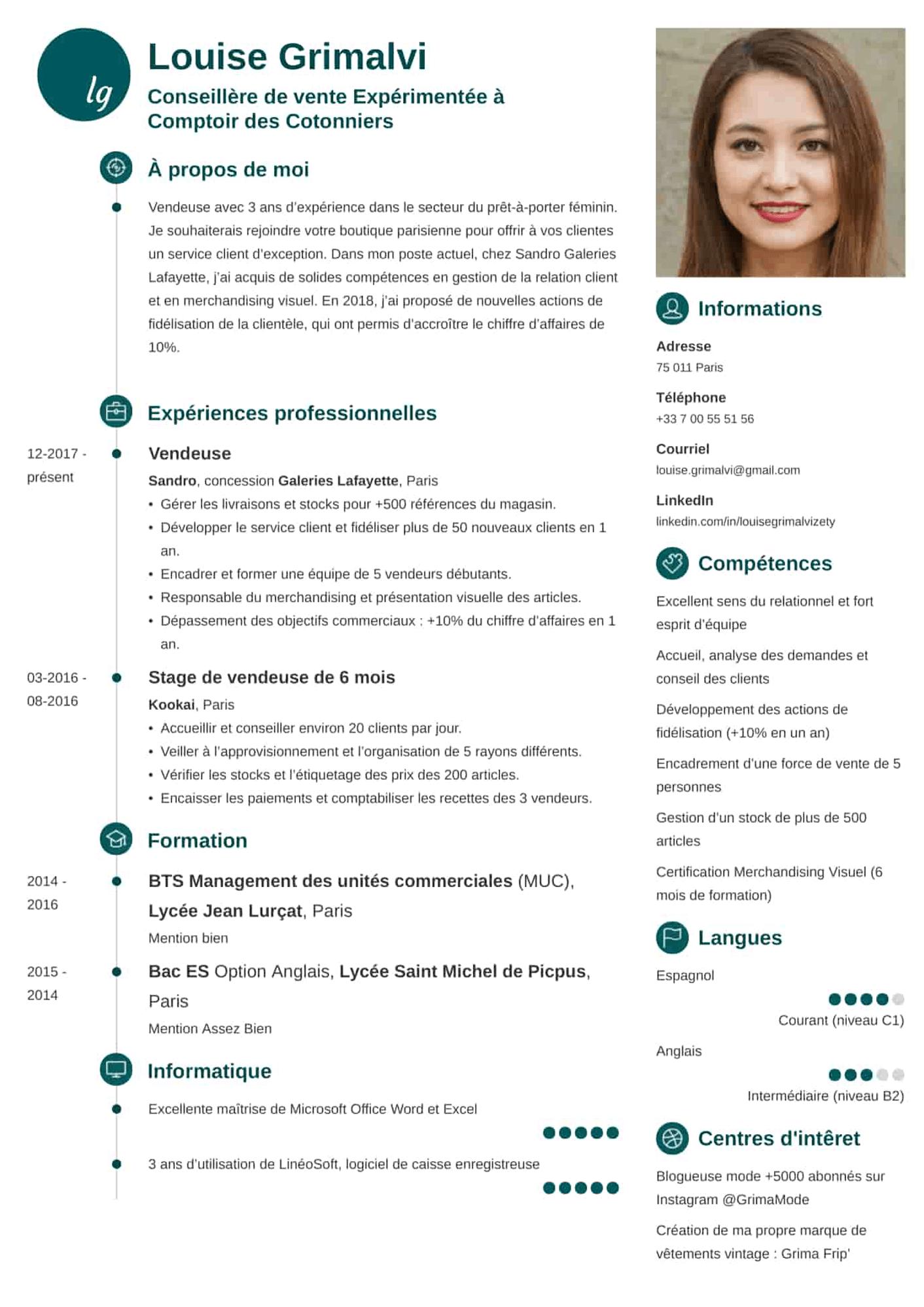 CV vendeur/vendeuse