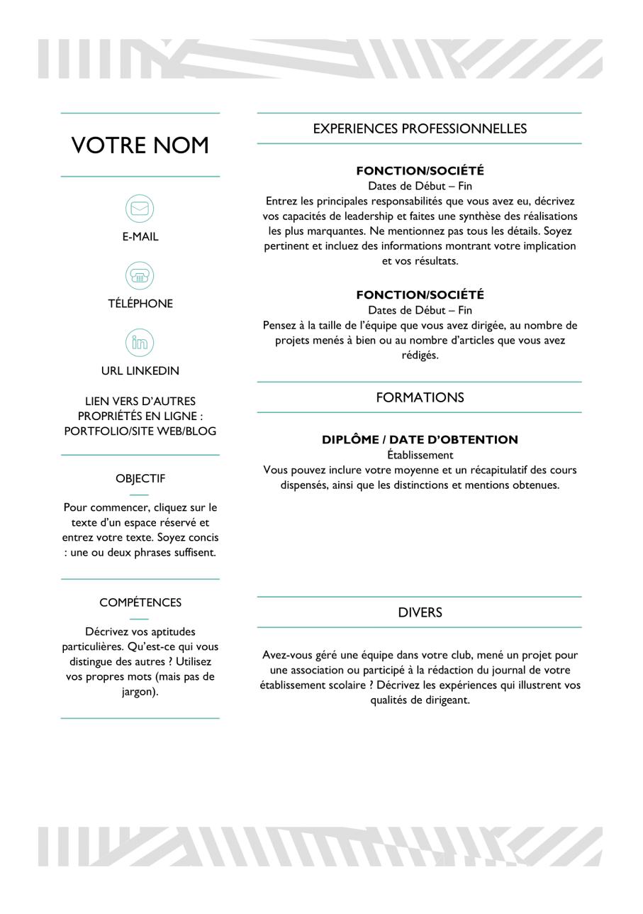 Exemple CV gratuit