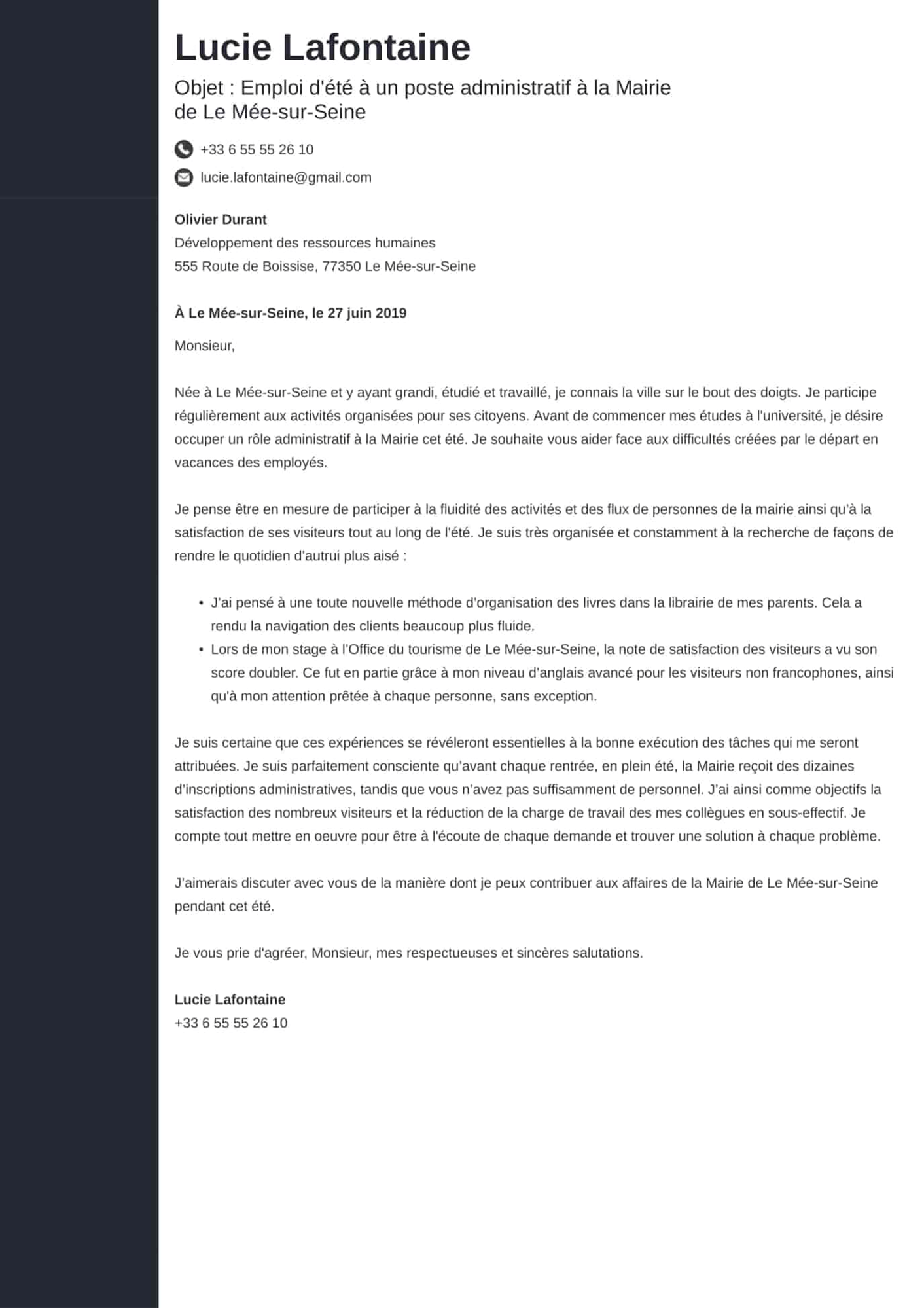 Lettre de motivation job d'été