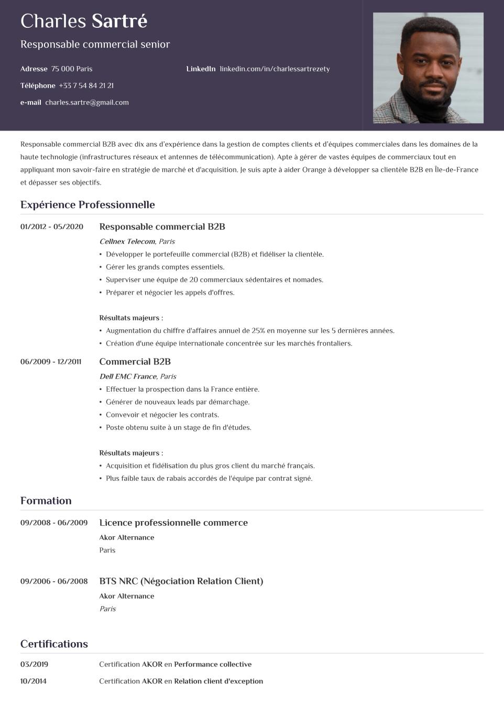 Modèle de CV traditionnel