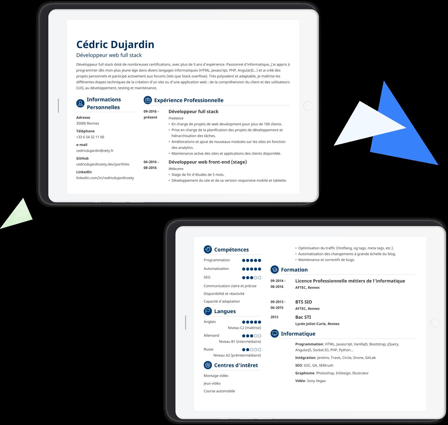 modèles de CV à remplir en ligne