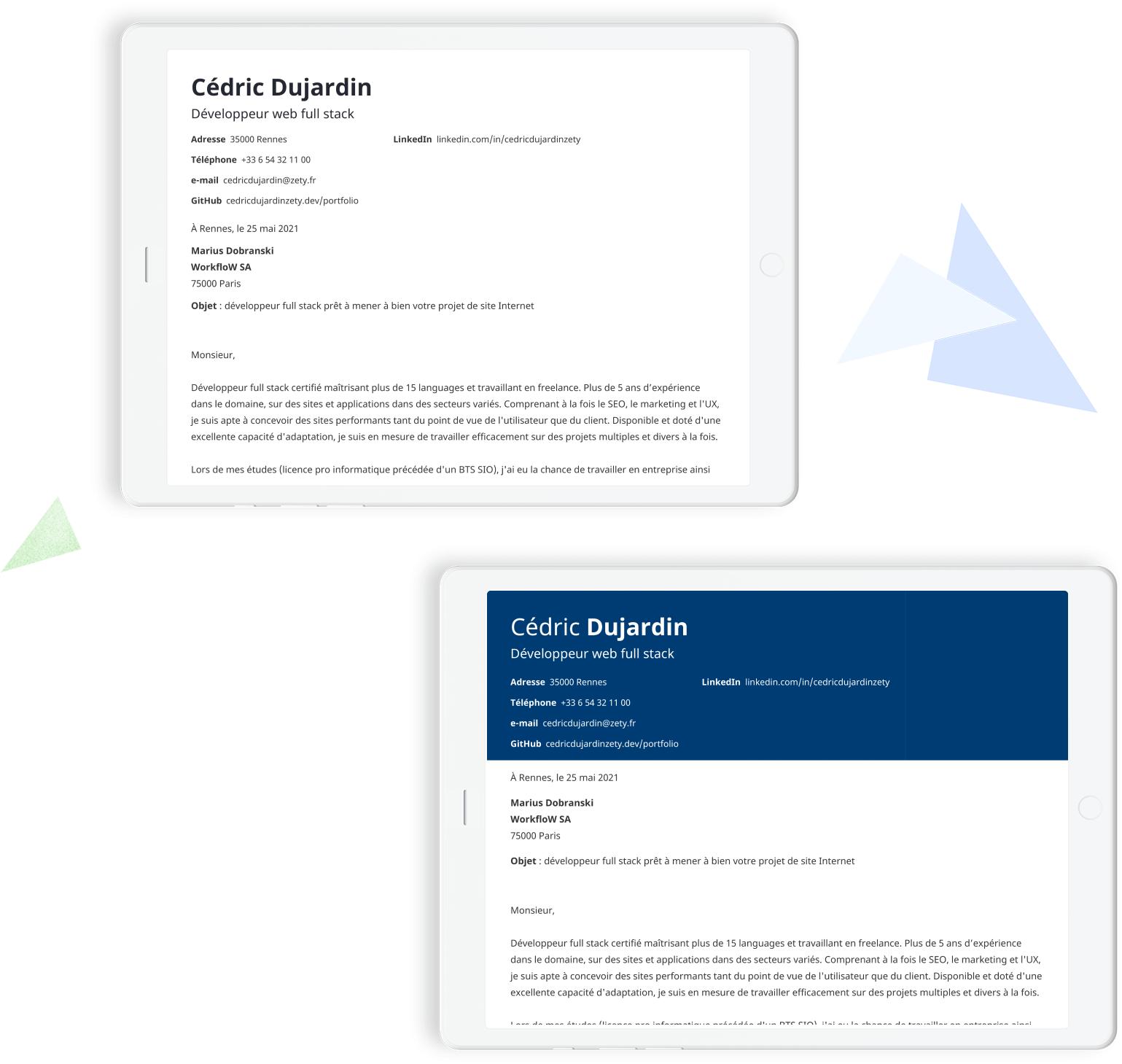 modèles de lettres de motivation à remplir en ligne