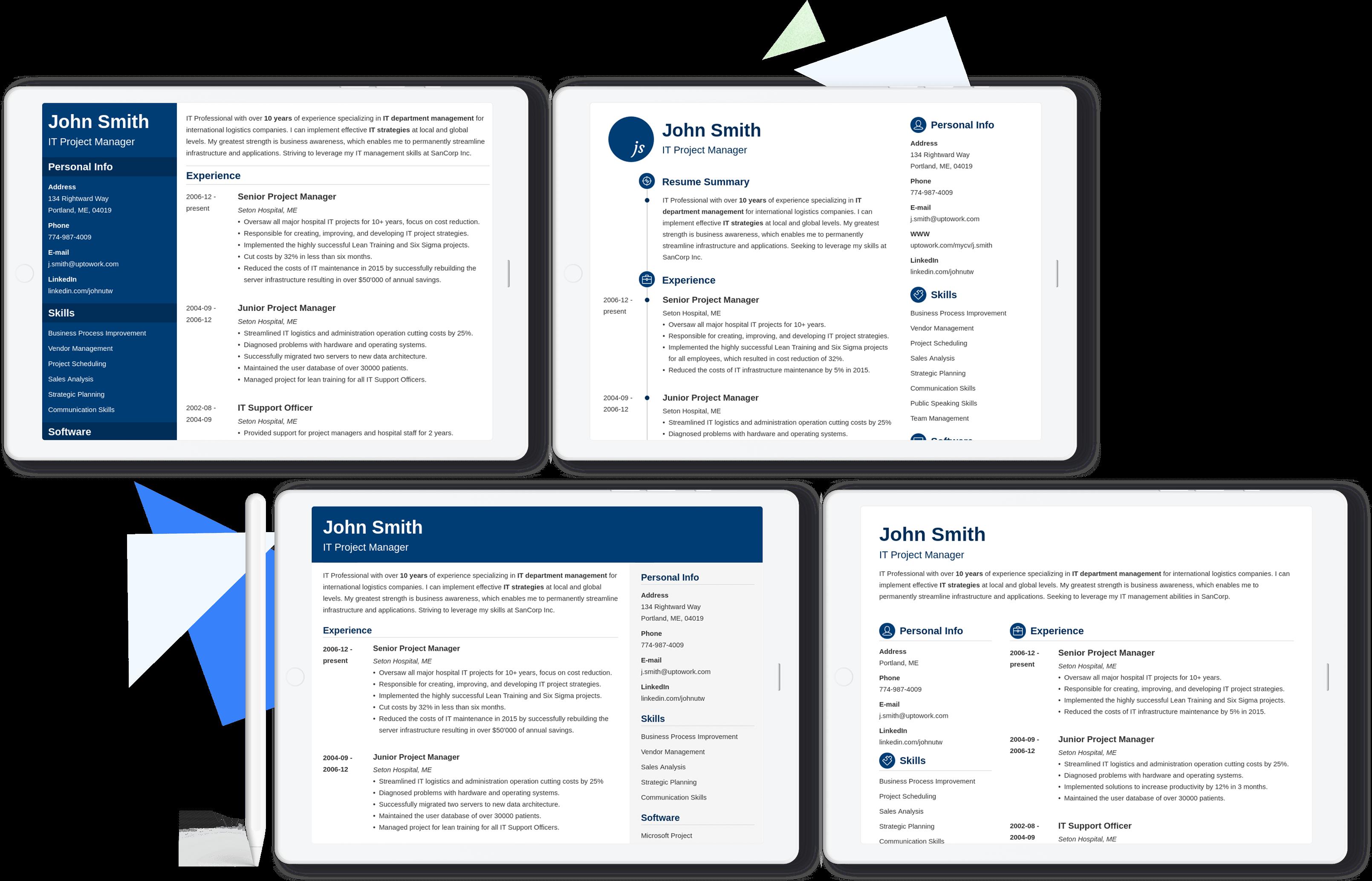 Modèles de CV professionnels pour toutes situations