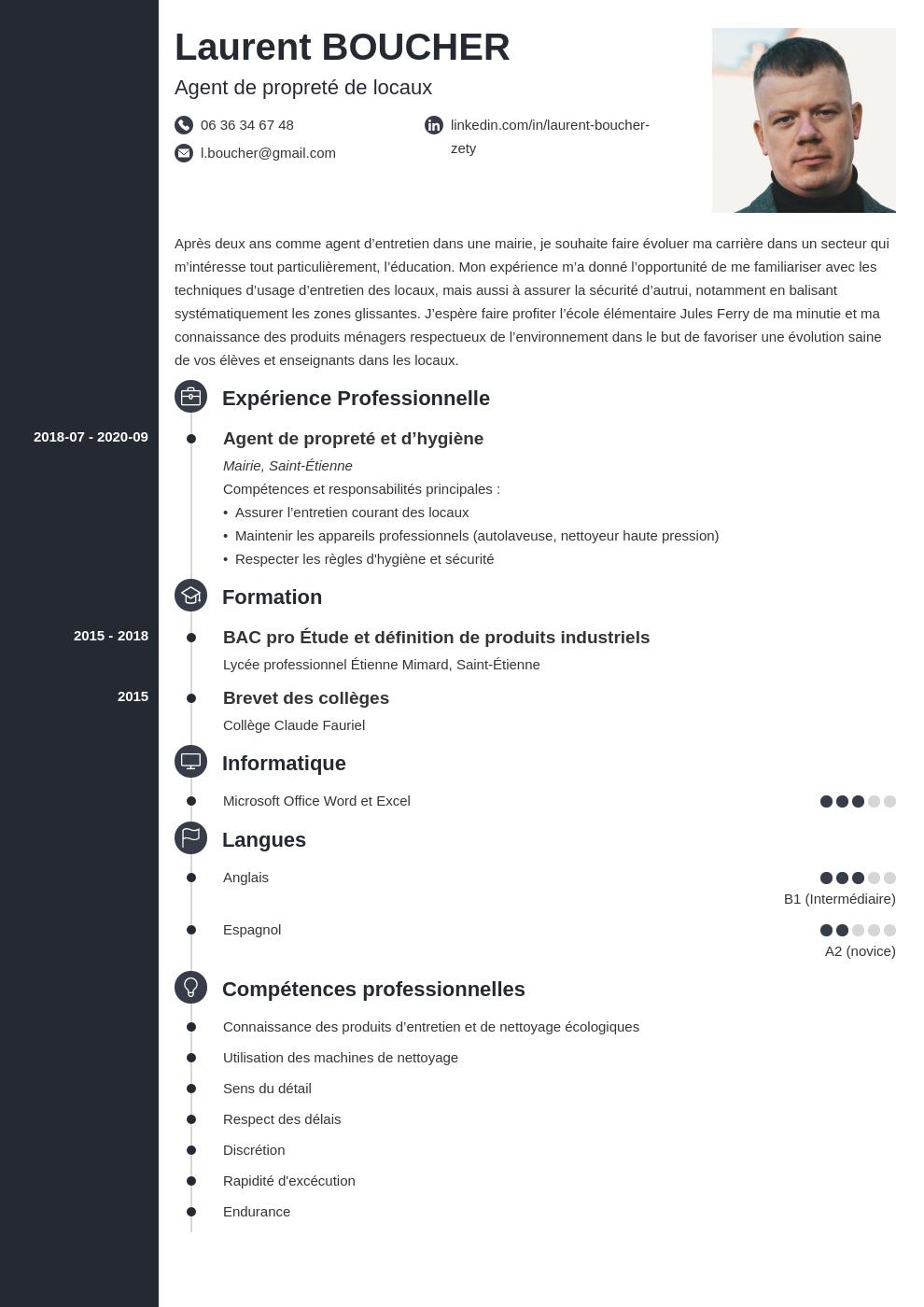 Exemple de CV agent d'entretien et nettoyage (compétences)