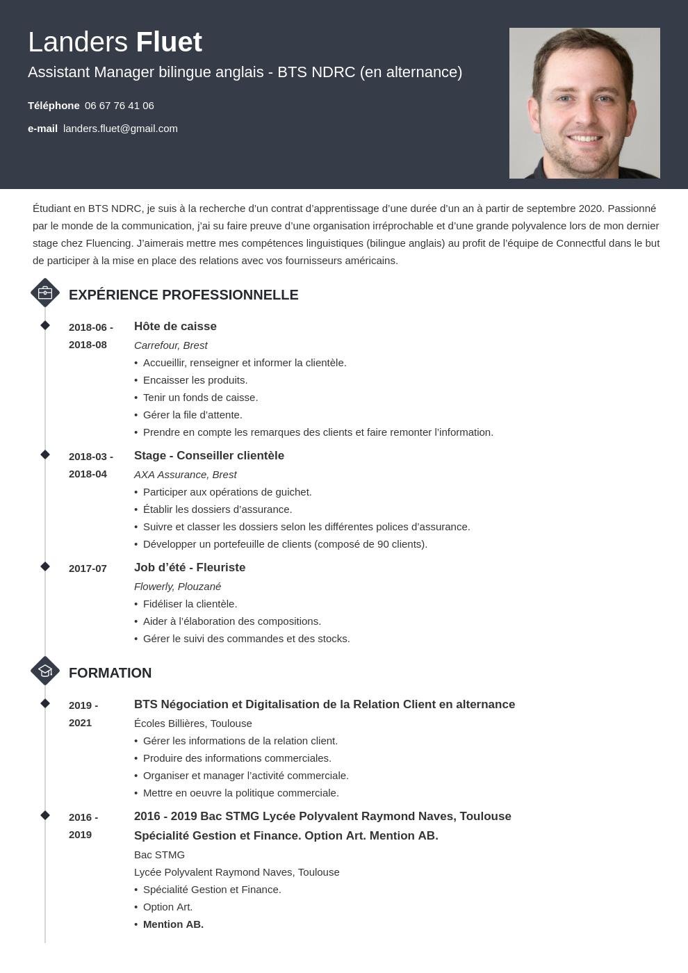 Exemple CV alternance pour signer le contrat d'apprentissage