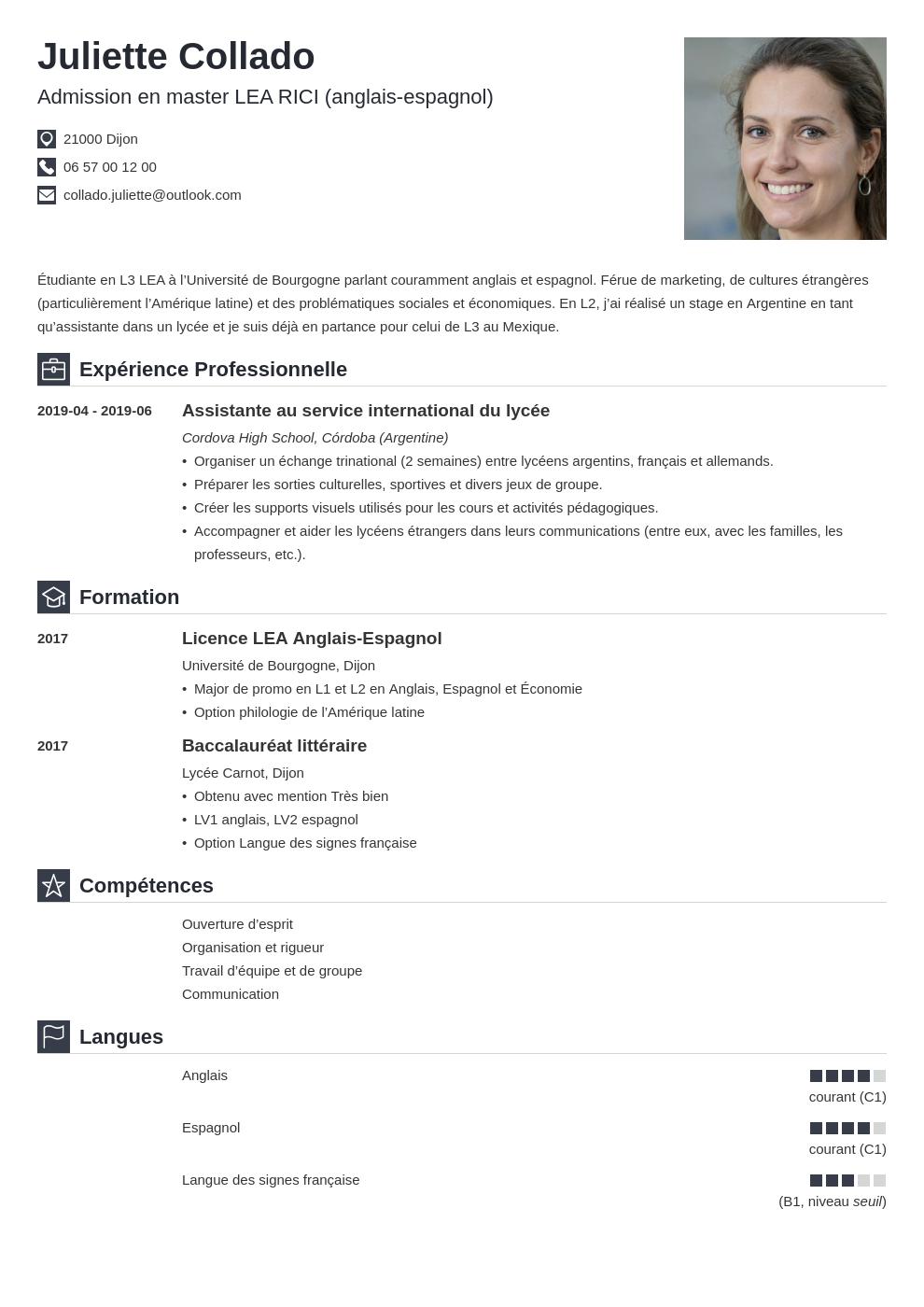 Cv Master Exemple De Cv Pour Candidature En Master 1 2