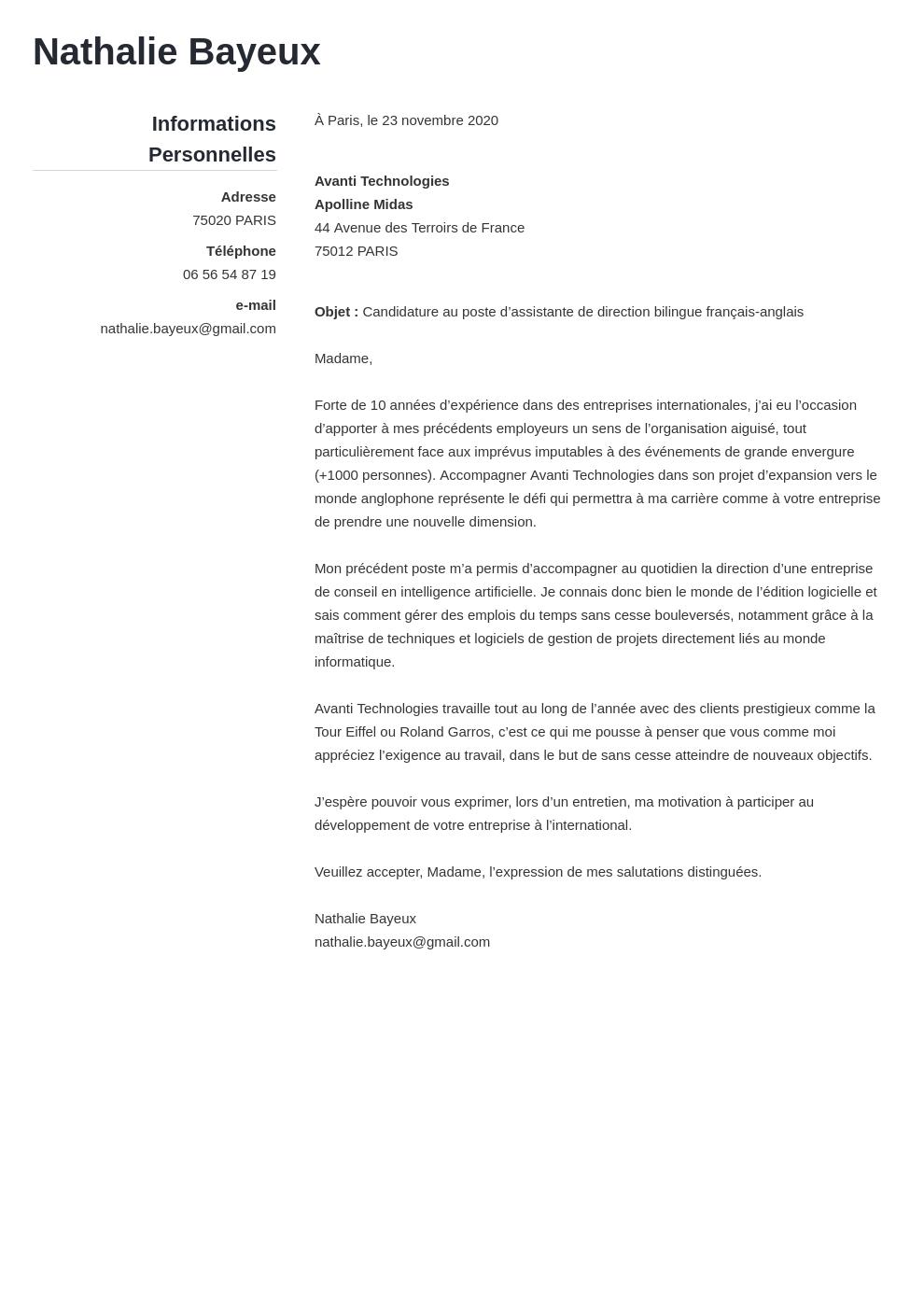 Exemple lettre de motivation assistant-e de direction/manager