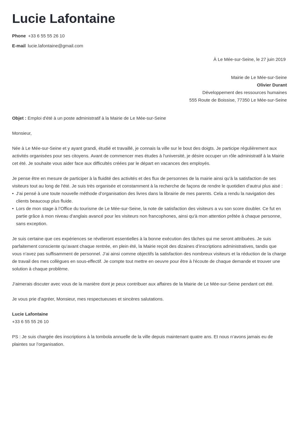 Lettre De Motivation Job D Ete Caissiere Modele De Lettre