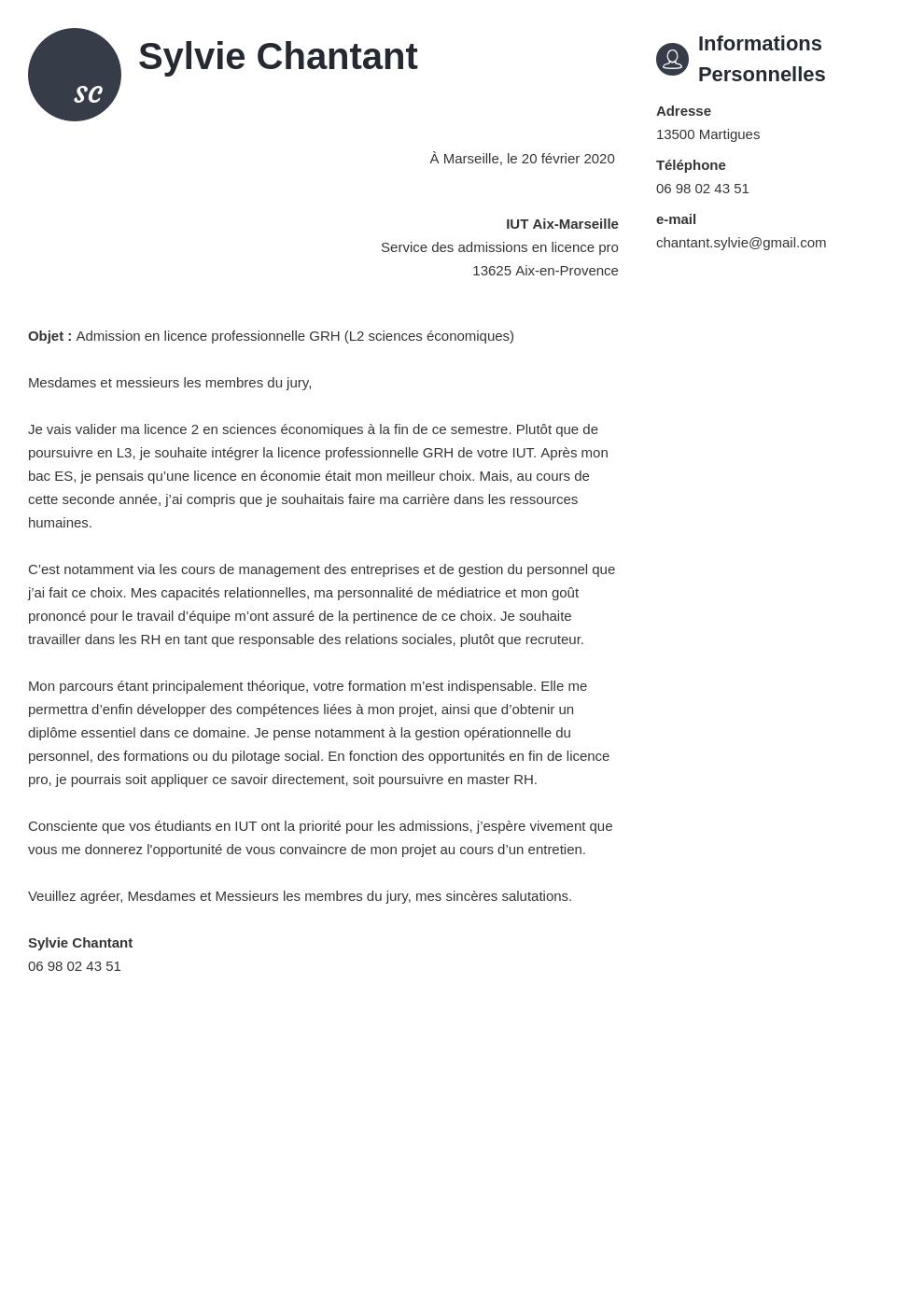Exemple De Lettre De Motivation Pour Licence Pro Gratuit