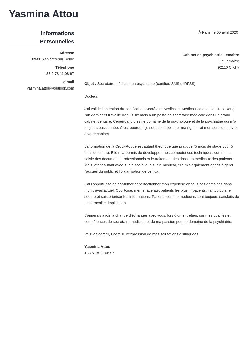 Lettre de motivation secrétaire médicale (exemple tout niveau)