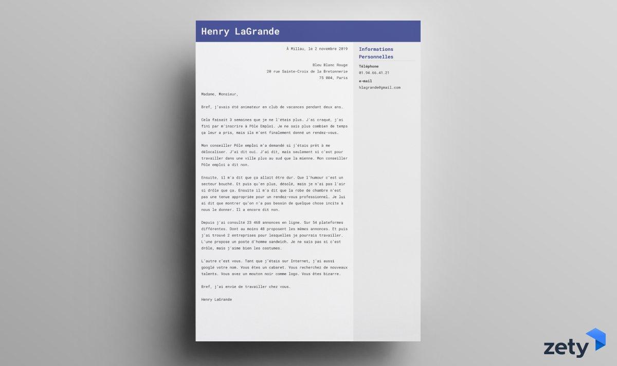 lettre de motivation originale