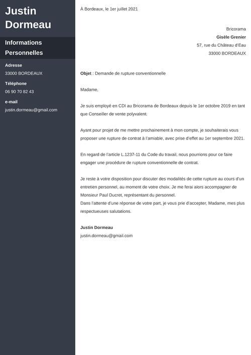 Modèle de lettre de rupture conventionnelle à l'initiative du salarié