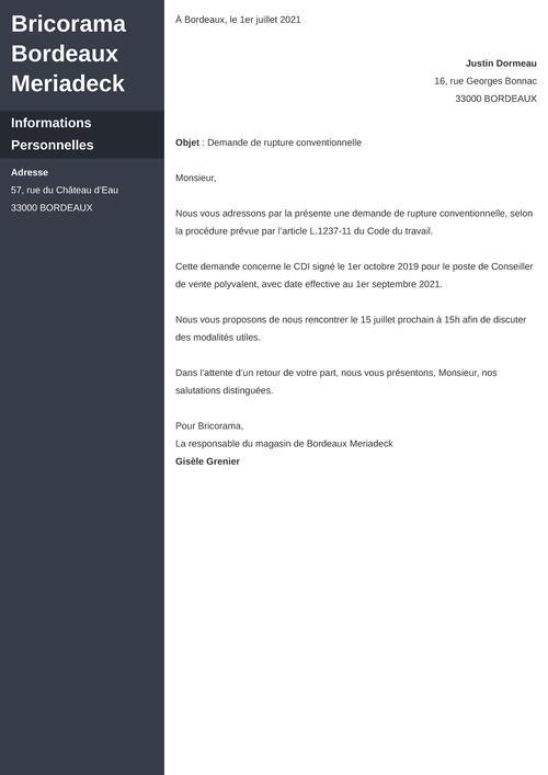 Modèle de lettre de rupture conventionnelle à l'initiative de l'employeur