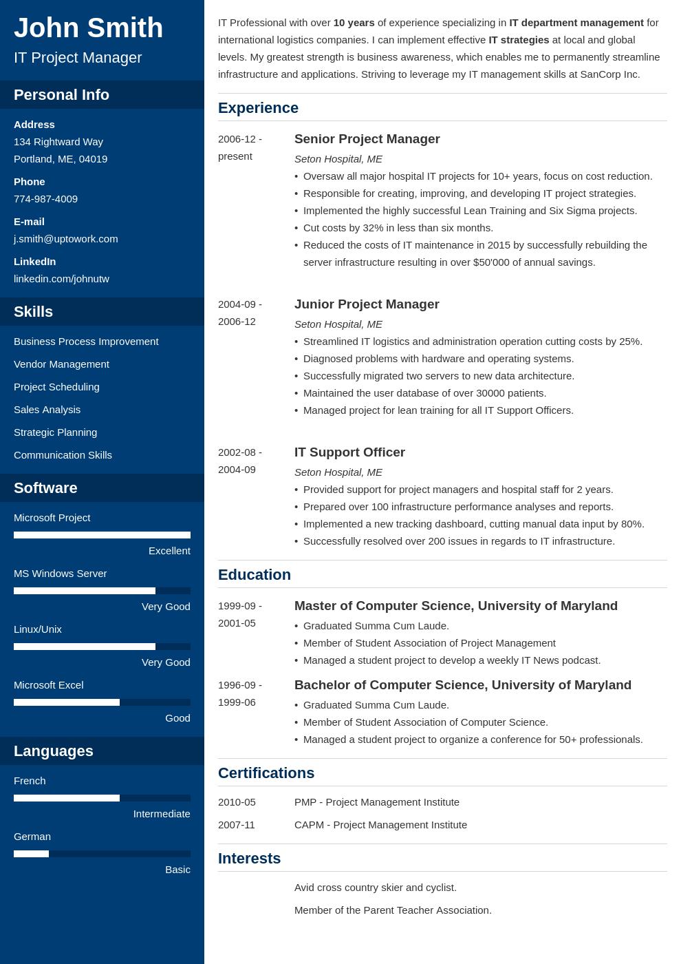 Modèle de CV professionnel Cascade