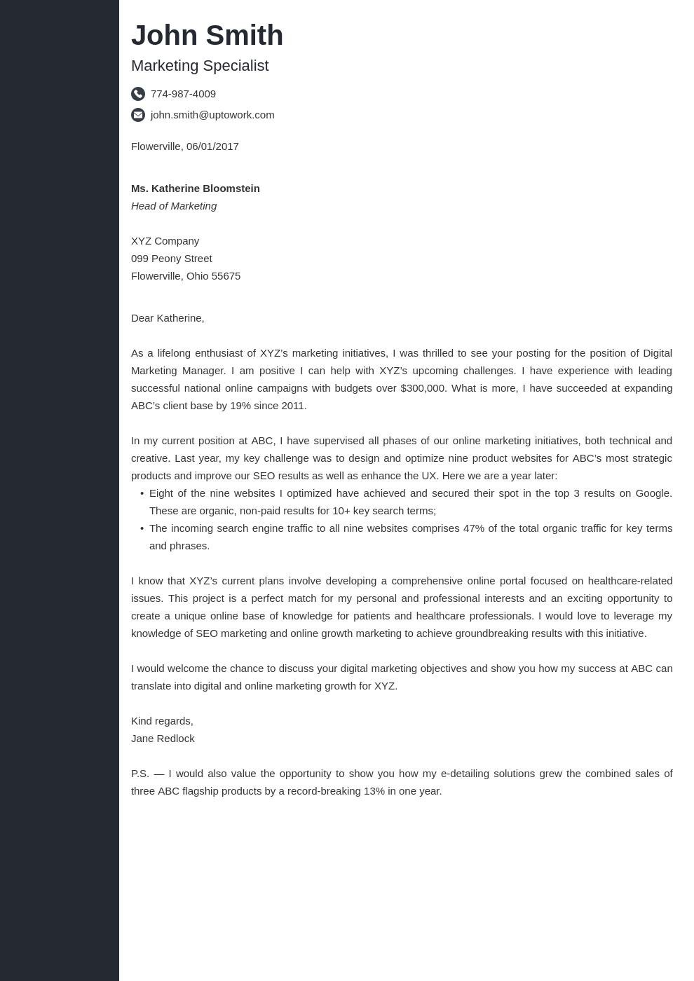 Modèle de lettre de motivation professionnel Concept