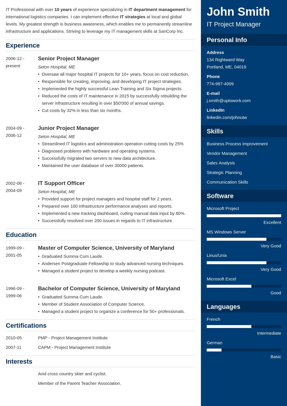 Modèle de CV professionnel Enfold