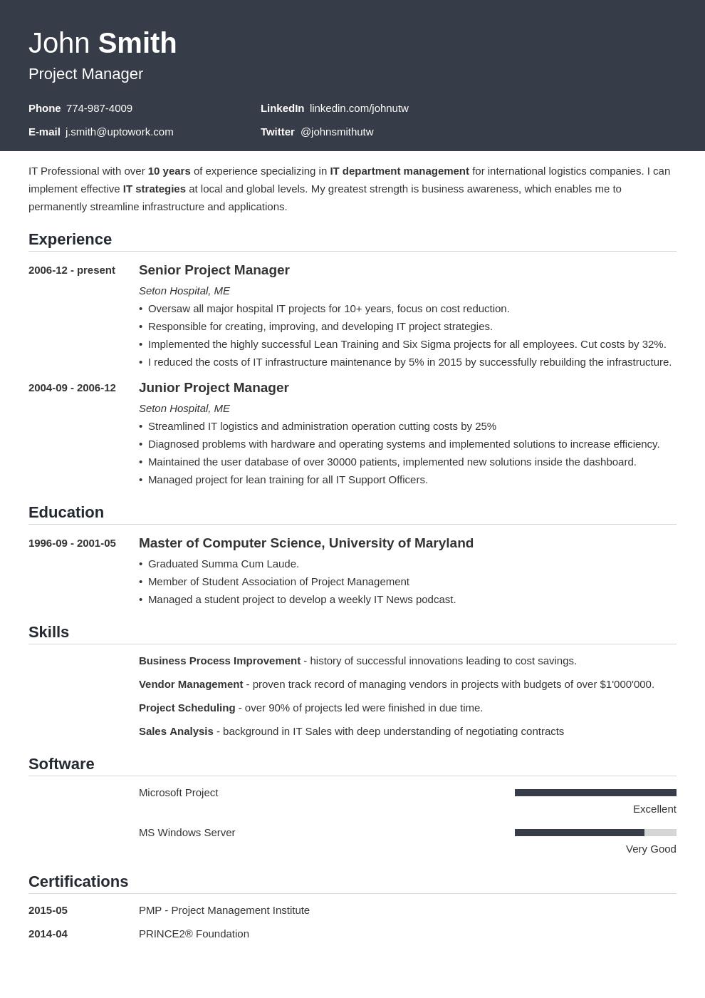 Modèle de CV professionnel Influx