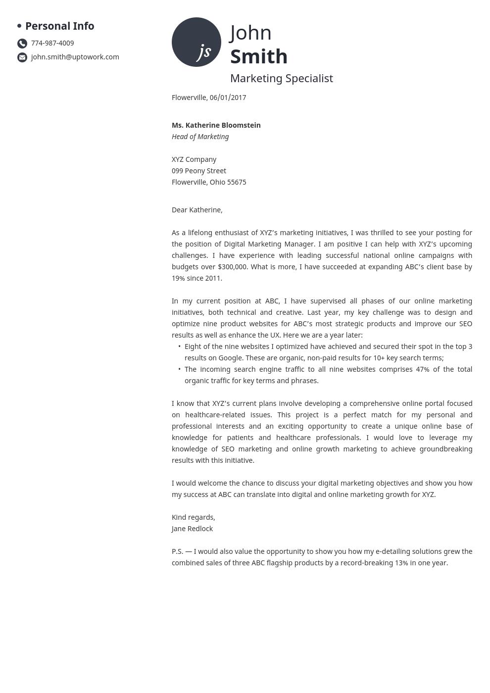 Modèle de lettre de motivation professionnel Initials