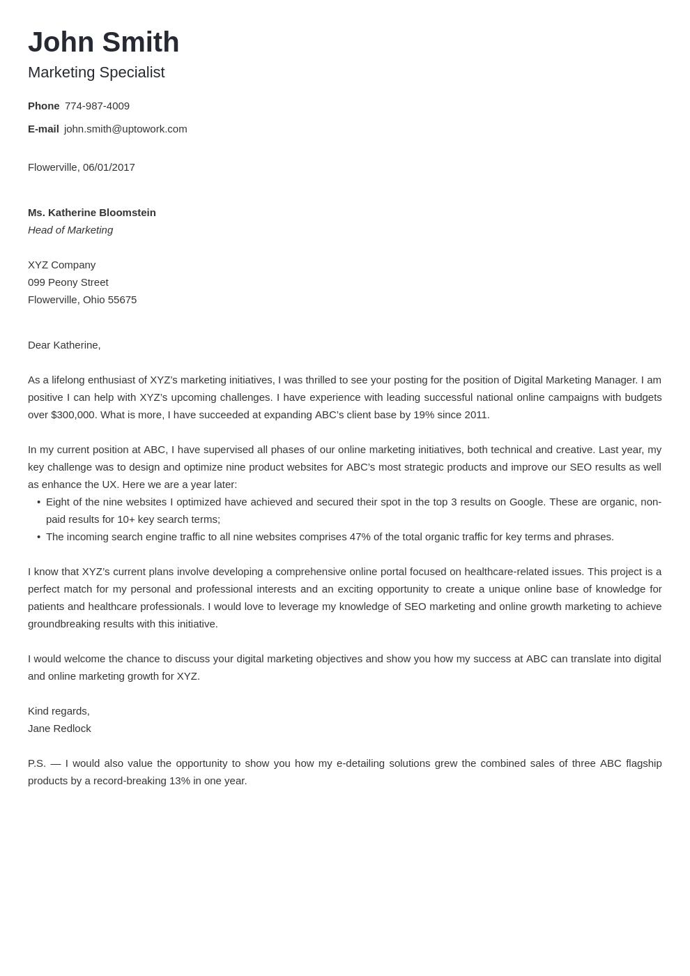 Modèle de lettre de motivation professionnel Minimo