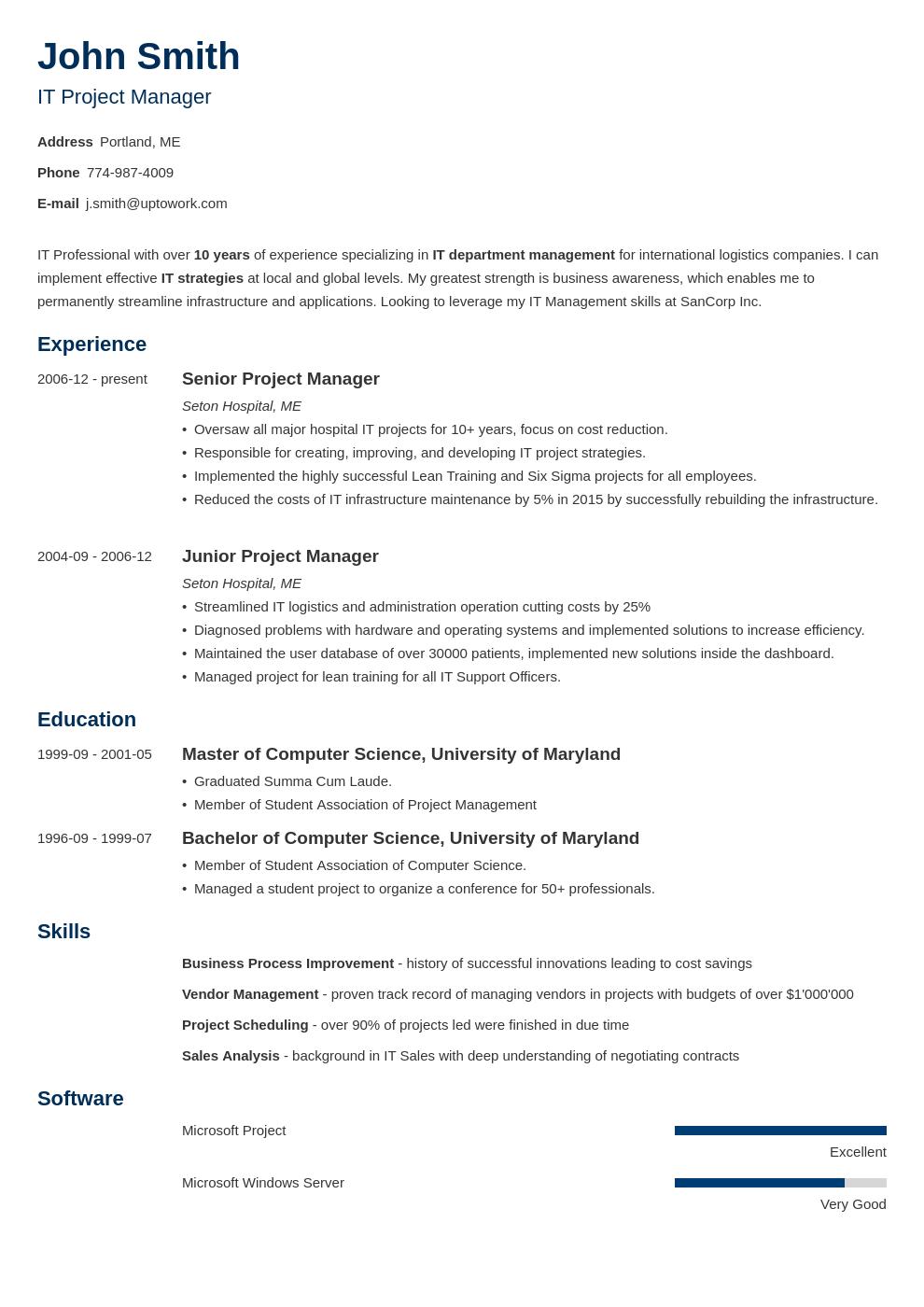 Modèle de CV professionnel Minimo