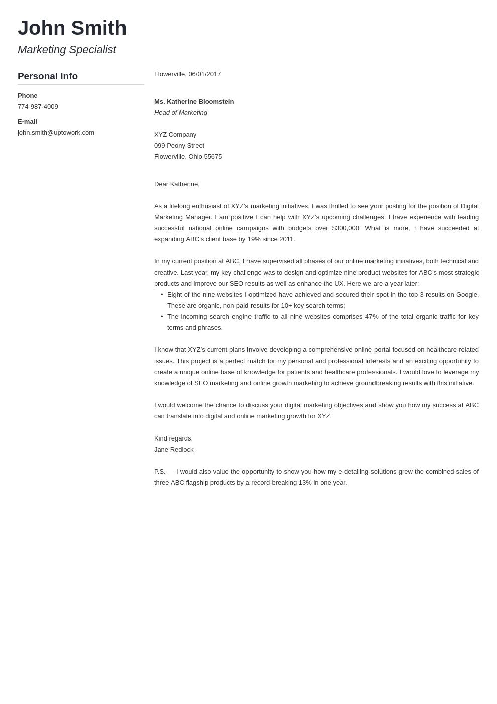 Modèle de lettre de motivation professionnel Muse