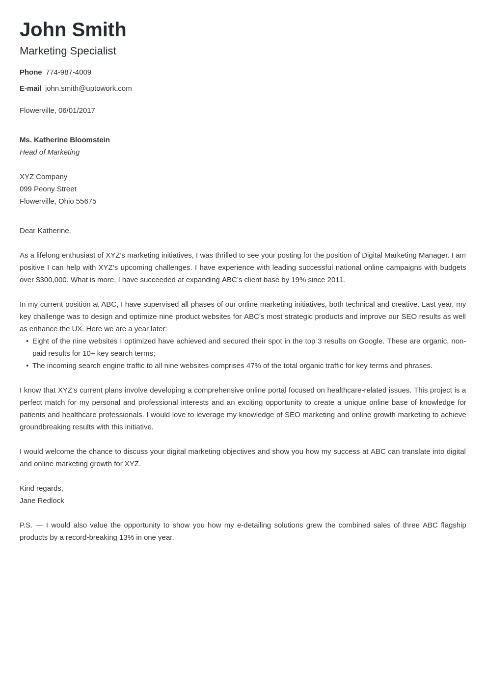 Modèle de lettre de motivation professionnel Nanica