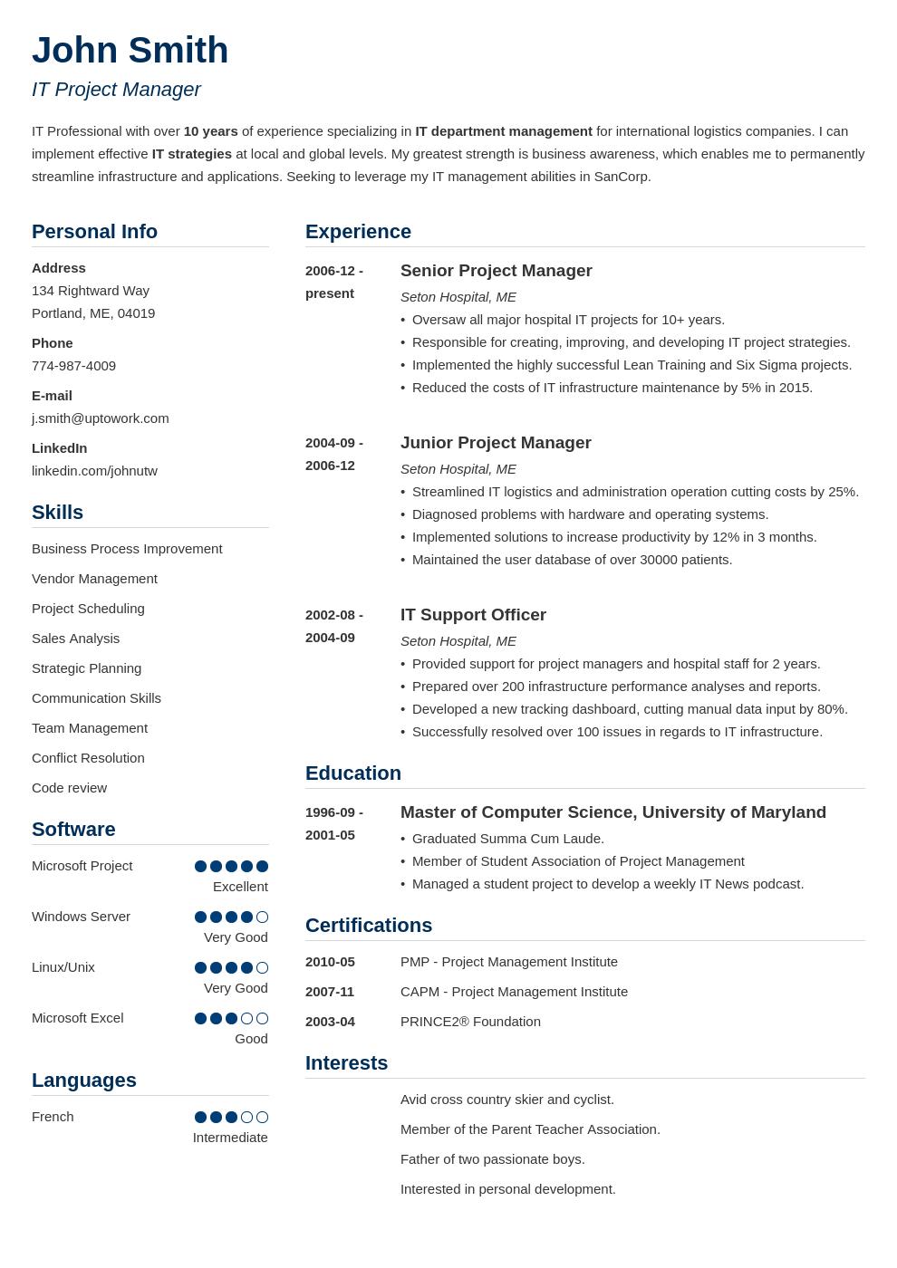Modèle de CV professionnel Simple