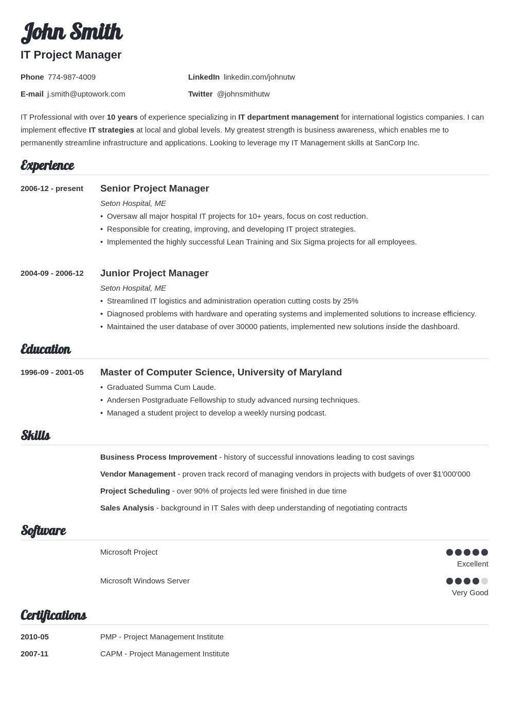Modèle de CV professionnel Valera