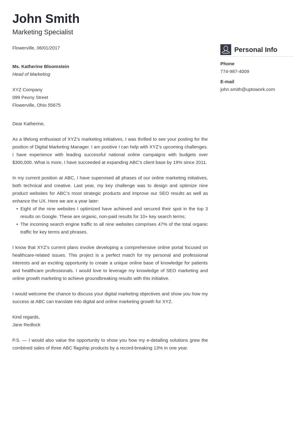 Modèle de lettre de motivation professionnel Vibes